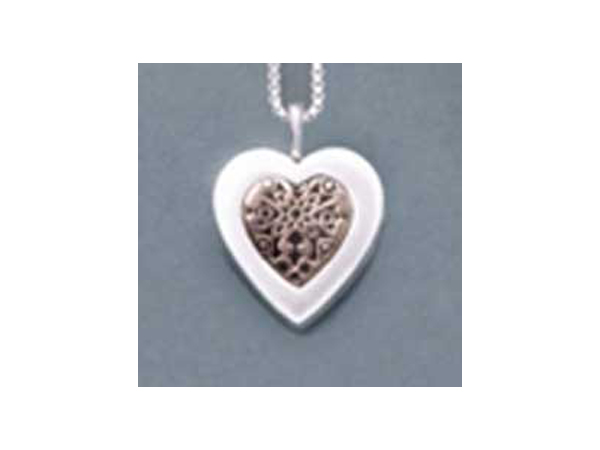 Sterling Silver Heart w/14K Gold Insert
