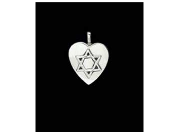 Sterling Silver Heart w/14K Star of David